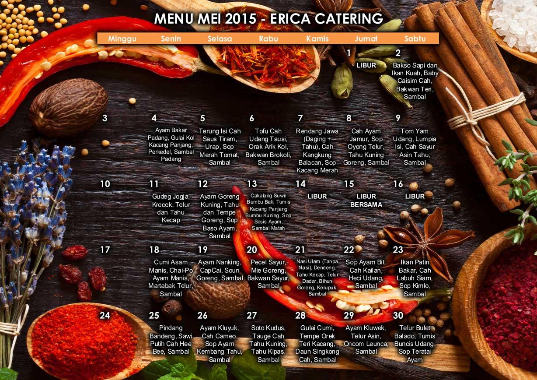 Menu Erica Catering Mei 2015