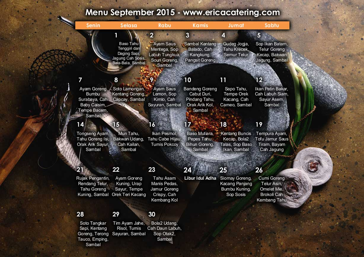 Menu Erica Catering September 2015