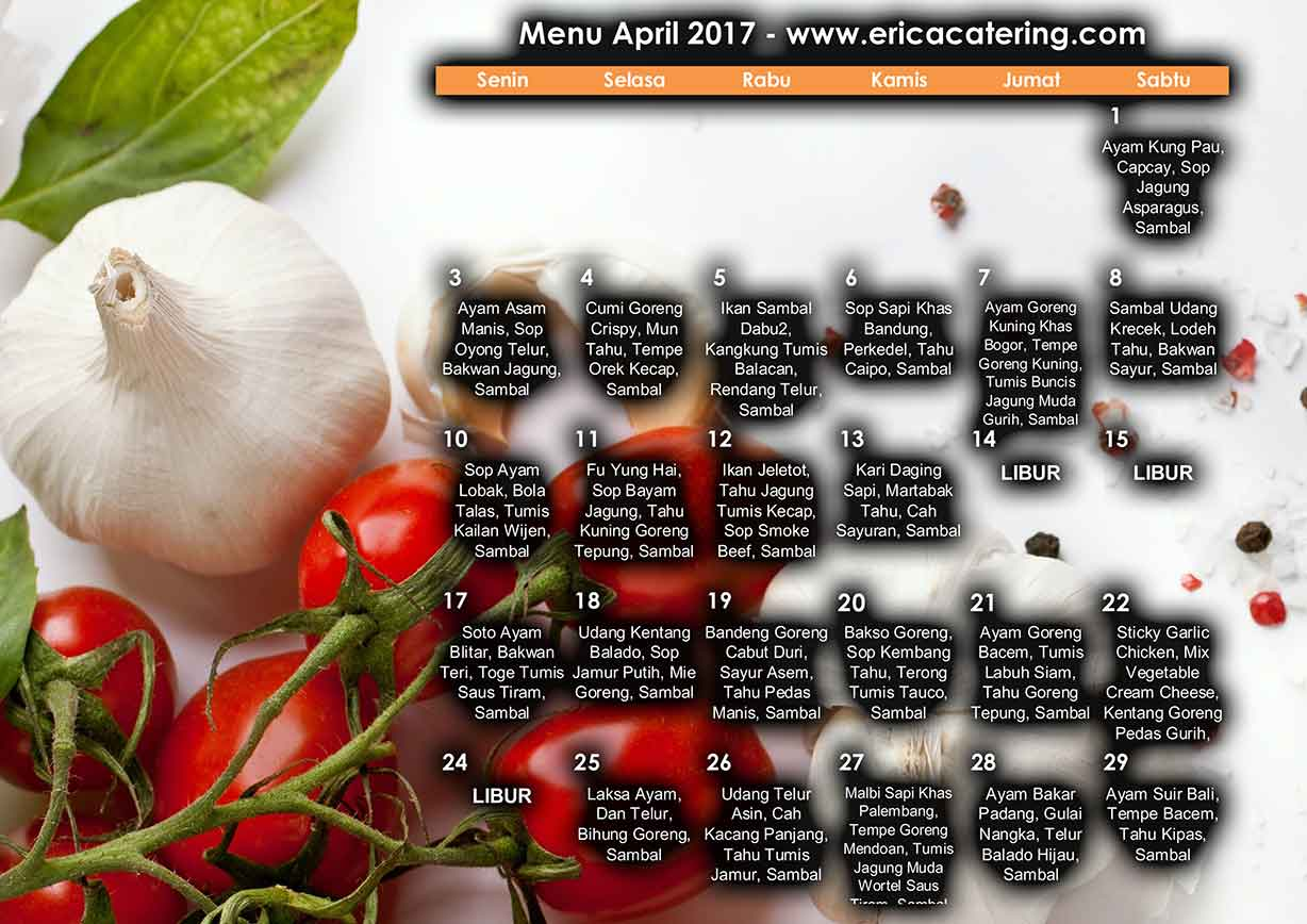 Menu Erica Catering April 2017