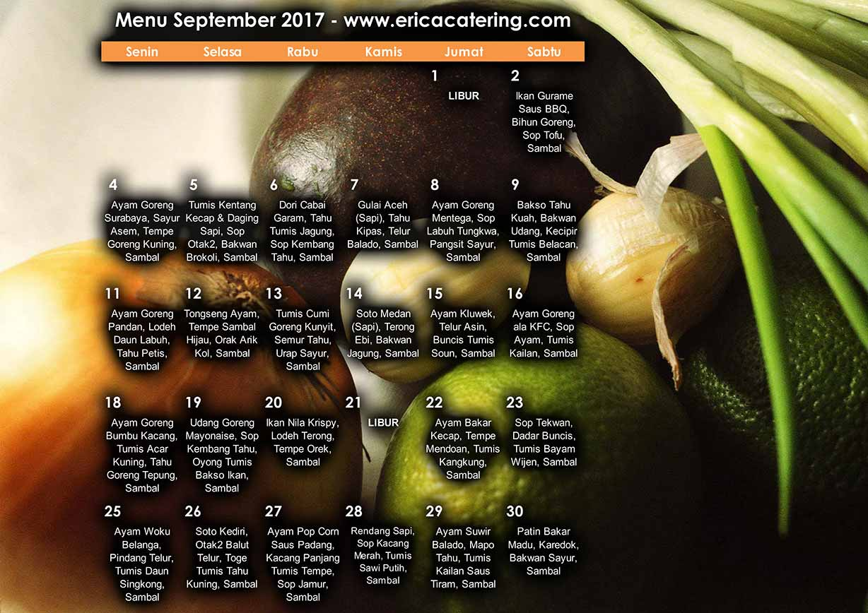 Menu Erica Catering September 2017